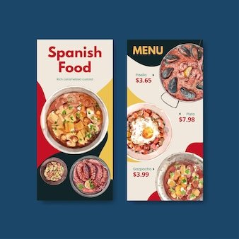 Menu template with spainish cuisine concept design for bisto and restaurant watercolor illustration