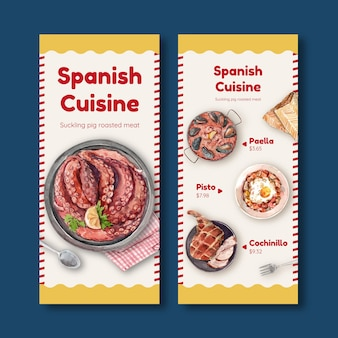 Menu template with spainish cuisine concept design for bistro and restaurant watercolor illustration