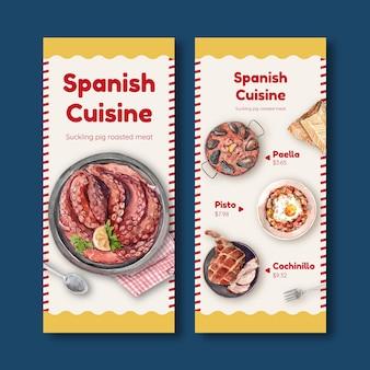 Modello di menu con concept design di cucina spagnola per bistrot e illustrazione dell'acquerello del ristorante