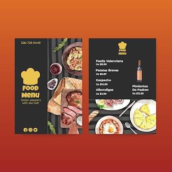 Шаблон меню с концептуальным дизайном испанской кухни для акварельной иллюстрации бисто и ресторана