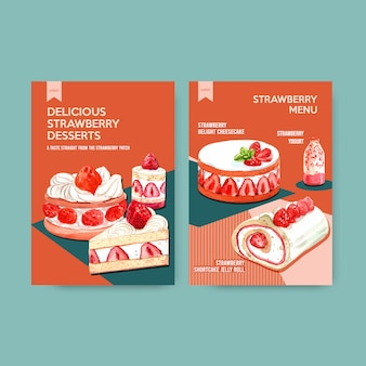 Menu template with strawberry baking design for restaurant, cafe, bistro and food shop watercolor illustration