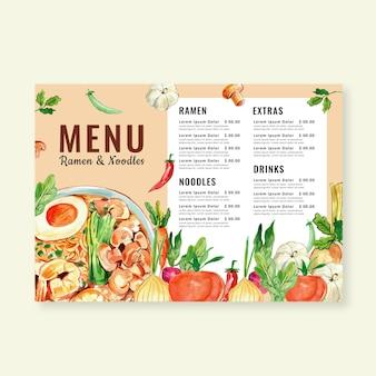 Modello di menu con illustrazione ad acquerello
