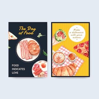 Шаблон меню с концептуальным дизайном всемирного дня еды для акварели ресторана и продовольственного магазина