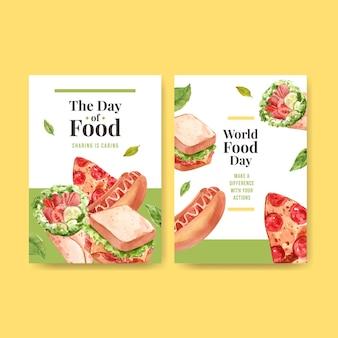 レストランやフードショップの水彩画の世界の食品日コンセプトデザインのメニューテンプレート