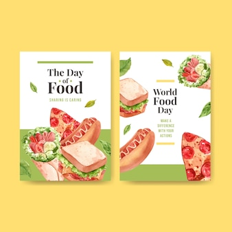 Menu template with world food day concept design for restaurant and food shop watercolor