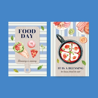 Modello di menu con concept design della giornata mondiale dell'alimentazione per l'acquerello del ristorante e del negozio di alimentari