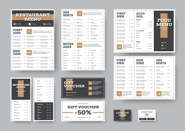 Menu templates for cafes and restaurants in white with black blocks
