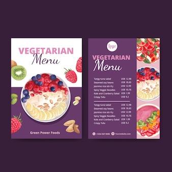Шаблоны меню к всемирному вегетарианскому дню в стиле акварели