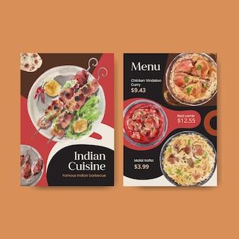 Modelli di menu con cibo indiano