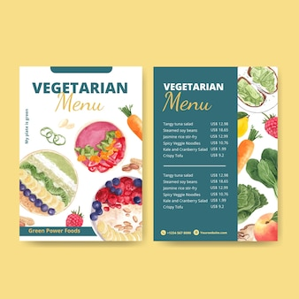 Modelli di menu per la giornata mondiale vegetariana in stile acquerello