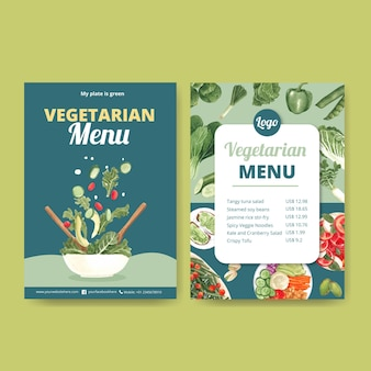 Menu templates for world vegetarian day in watercolor style