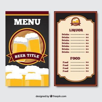 표지에 맥주가 들어간 메뉴