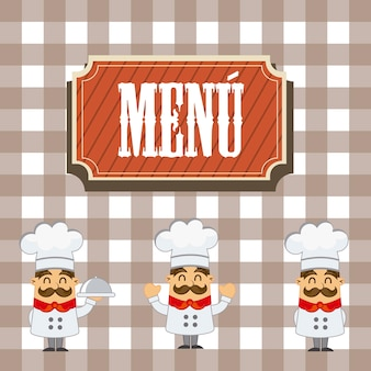 Menu with cartoon chef over squares background vector