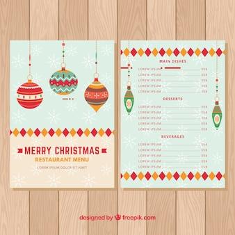 Меню с рождественскими шарами в винтажном стиле