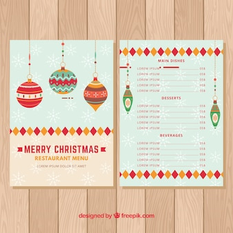 Menu with christmas balls in vintage style