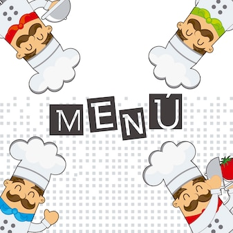 Menu with cute cartoons chef over white background vector