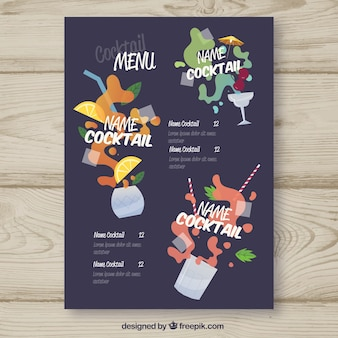 Menu with different cocktails in flat style