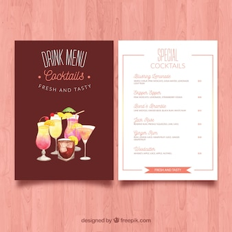 Menu with different cocktails in watercolor style