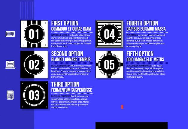 밝은 파란색 배경에 멋진 기하학적 스타일의 5 가지 옵션이있는 메뉴