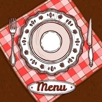 Menu With Porcelain Plate