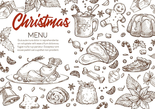 Menu with traditional dishes for xmas celebration. christmas products and meals, baked chicken and pudding, gingerbread cookies and hot drink. monochrome sketch outline, vector in flat style