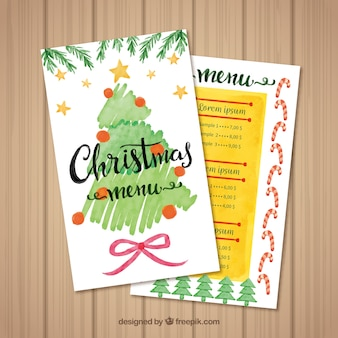 Menu with watercolor christmas tree