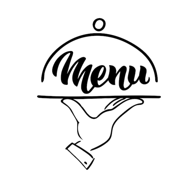 Menu word hand lettering and tray hand handmade vector calligraphy isolated on white restaurant