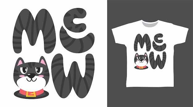 야옹 고양이 타이포그래피 티셔츠 디자인