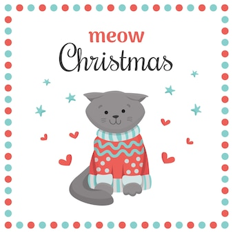 Meow christmas card with cute scottish fold cat in knitted sweater.