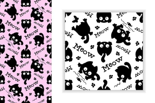「ニャー」かわいい黒い子猫。シームレスなパターン。