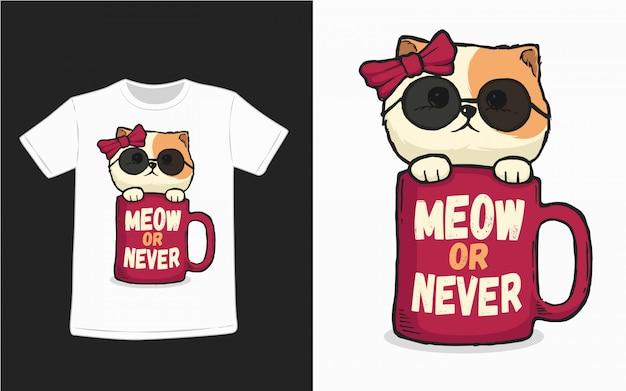 Мяу или никогда иллюстрация кошки для дизайна футболки