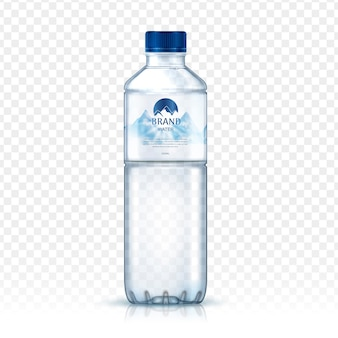 Meral water bottle package , with snowy mountaimage on label, isolated transparent background