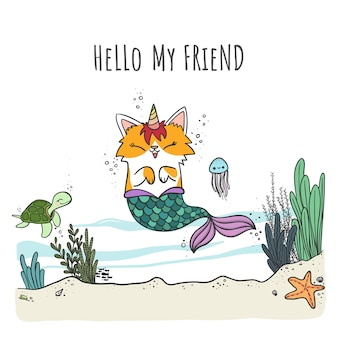 Mercaticorn, cute cartoon mermaid cat with unicorn horn swimming in the sea with sea animals.