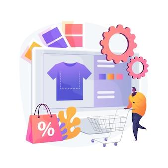 Мерч одежды абстрактное понятие векторные иллюстрации. одежда для мероприятий, товары на заказ, услуги по дизайну товаров, фирменный принт на одежде, абстрактная метафора на онлайн-сайте производителя товаров.