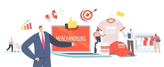 Концепция мерчандайзинга. крошечные мужские и женские персонажи с огромными рекламными продуктами для идентификации бренда. бизнесмен, представляя футболку компании, кепку и кружку. мультфильм люди векторные иллюстрации