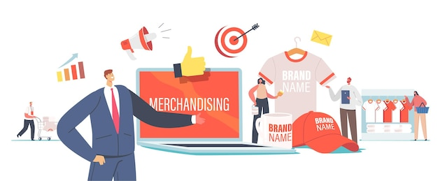 Merchandising concept. tiny male and female characters with huge promotional products for brand identity. businessman presenting company t-shirt, cap and mug. cartoon people vector illustration