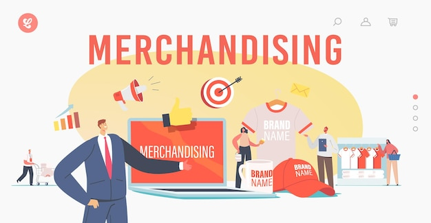 Merchandising landing page template. tiny characters with huge promotional products for brand identity. businessman presenting company t-shirt, cap and mug. cartoon people vector illustration