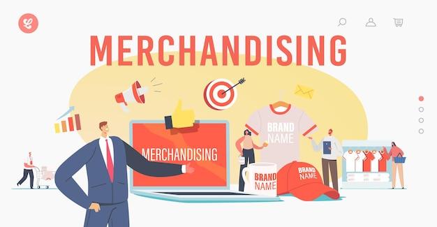 マーチャンダイジングランディングページテンプレート。ブランドアイデンティティのための巨大な販促品を備えた小さなキャラクター。ビジネスマンプレゼンテーション会社のtシャツ、キャップ、マグカップ。漫画の人々のベクトル図