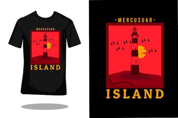 マーキュリアルアイランドレトロtシャツデザイン Premiumベクター
