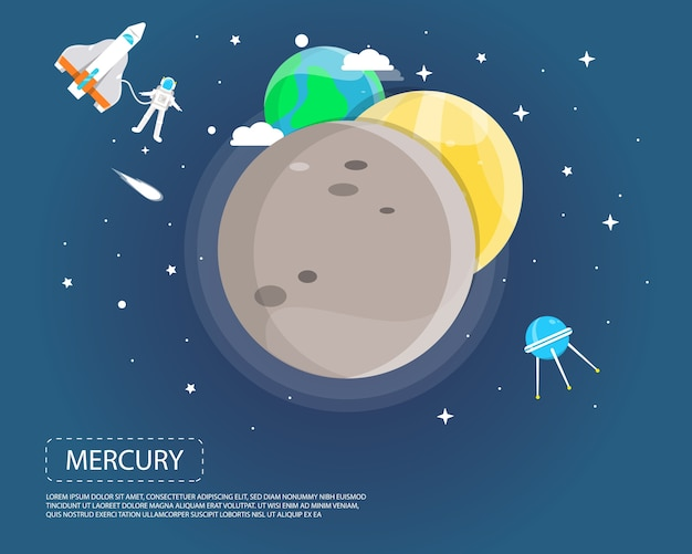 太陽系のイラストデザインの水銀金星と地球