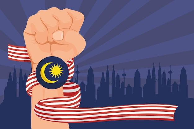 Merdeka celebration flag in fist