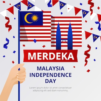 Merdeka malaysia independence day with flags