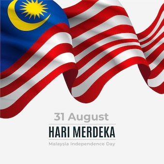 Merdeka malaysia independence day with realistic flag