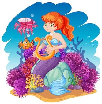 Русалка и морские животные в мультяшном стиле на фоне моря