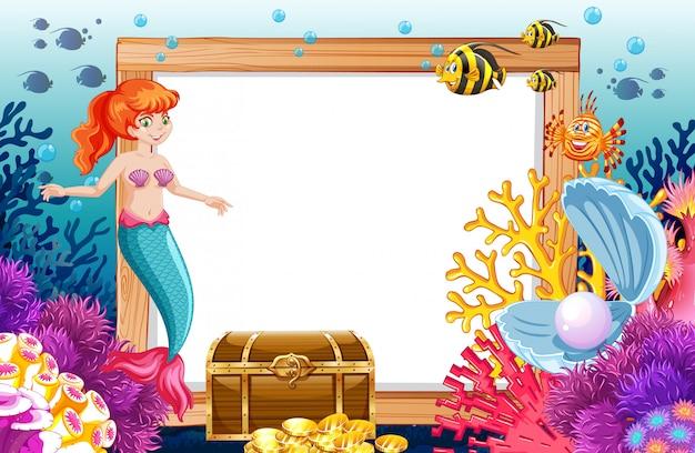 海の背景の下に空白のバナー漫画のスタイルで人魚と海の動物のテーマ