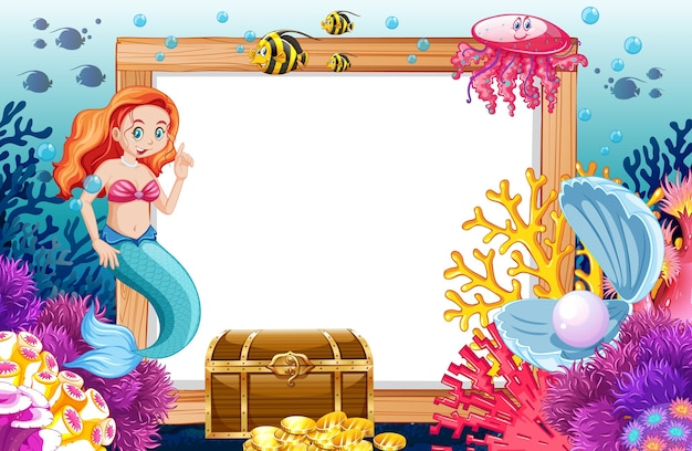 Тема русалки и морских животных с пустым баннером в мультяшном стиле на подводном море
