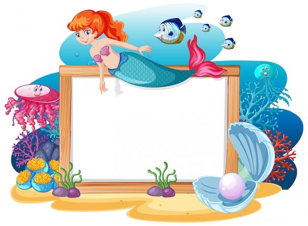 흰색 배경에 빈 배너 만화 스타일 인어와 바다 동물 테마
