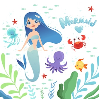 Mermaid background. underwater life with cartoon fantasy mermaid characters baby octopus girl  illustration