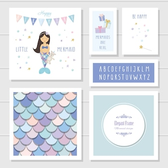 Mermaid birthday card templates set