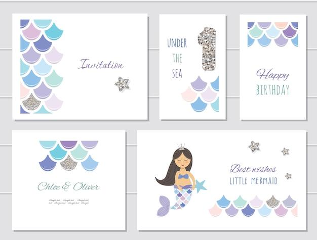 Mermaid birthday cards set for girls.